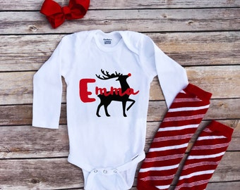 Reindeer onesie, Merry Christmas onesie, Reindeer Toddler Shirt, Personalized holiday onesie, custom Christmas onesie, red nose reindeer,