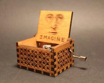 Engraved Wooden Music Box Imagine - John Lennon