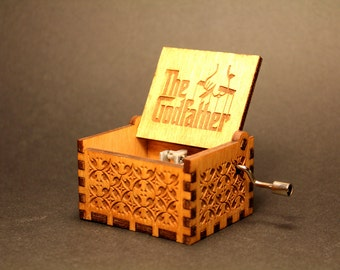 Engraved Handmade Wooden Music Box - The GodFather