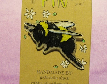 Bee Pin - Hand drawn, handmade cute baby bumble bee honey bee art pin badge