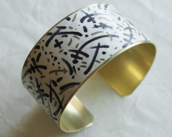 Jazzanova. Brass Cuff Bracelet wrapped with Japanese Chiyogami paper. Gifts for her. Made to order. Painted by me.