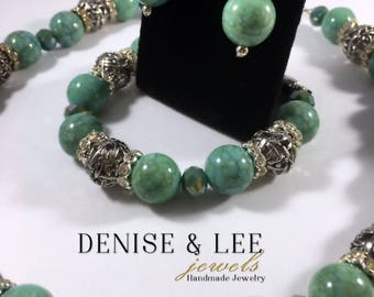 Turquoise & Silver Beaded Jewelry Set