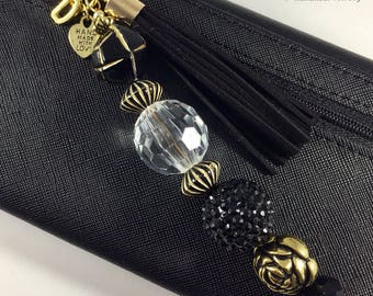 Black & Gold Beaded Keychain