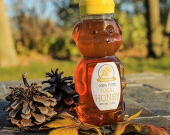 Raw Honey from Iowa wildflower, goldenrod, and clover, 100% pure – Honey Bear 12oz