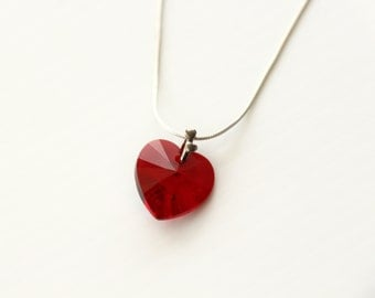 Swarovski Siam Crystal Heart Necklace, Swarovski Red Crystal Heart Sterling Silver Necklace, Mother's Day Gift,Jewellery Necklace,