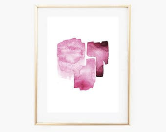 Watercolor strokes print,minimalist,pink watercolor,Abstract Watercolor print,Instant download art,Brush stroke watercolor print,Pink Prints