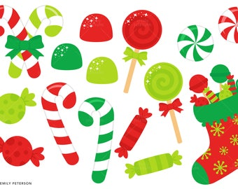 Christmas Candy, Candy Canes, Stocking - Cute Clipart, Clip Art - Commercial Use, Instant Download