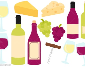 Wine Tasting, Grapes, Cheese - Cute Clipart, Clip Art - Commercial Use, Instant Download