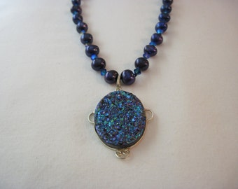 Lucero Druzy and Knotted Freshwater Pearl Necklace