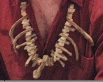 Hand-made Shamanic bone necklace; Made entirely from hand cut animal bones.