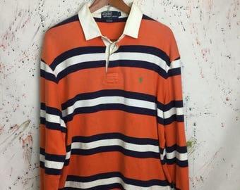 SALE 25% Vintage 90s Polo Ralph Lauren Rugby Shirt Size L