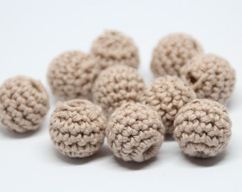 Organic crochet beads / 5 Sandy brown  beads / 18 - 19 mm crochet beads or 22 mm