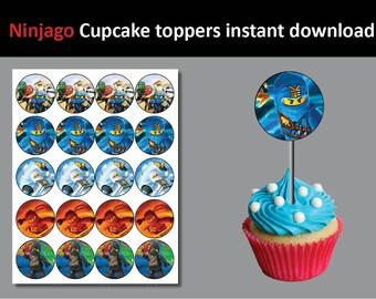 Ninjago Cupcake toppers emoji emoticon Printable party birthday sticker (NOT editable)
