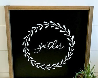 "GATHER // 18""X18"" // Painted Wood Sign"