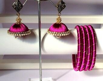 Silk Thread Bangles with Matching Jhumki Earrings