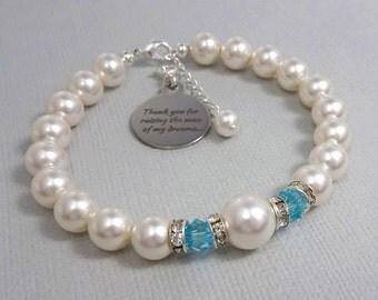 Light Turquoise Bracelet, Mother of the Bride Gift Bracelet, Mother of the Groom Gift Bracelet, Swarovski White Pearl Wedding Bracelet