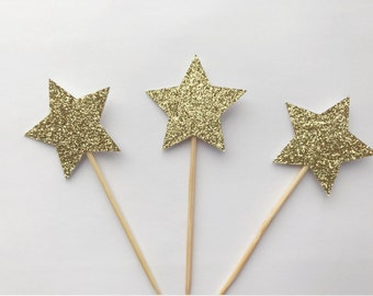12 Glittery Gold Star Cupcake Toppers-Baby Shower Cake Topper-Handmade Cake Topper-Cupcke