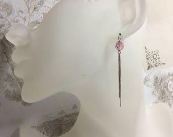 Earrings in 925/1000 silver and Crystal Swarovski Light Rose.