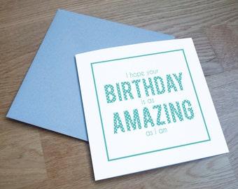 Eco Friendly Birthday Card - 'Amazing Birthday'