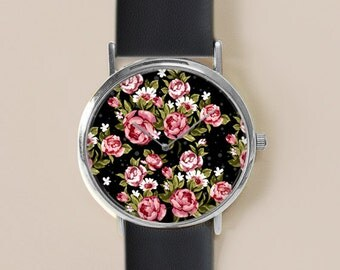 Floral Watch, Black Floral Jewelry, Vintage Floral Leather Watch, Women Watches, Roses , Gift for her, Floral Print, Watches, Gift