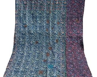 Blue Indigo Kantha Quilt , Vintage Kantha Quilt , Blue Print Fabric ,Twin Size Hand Made Bed Cover , Multi Color Kantha Quilt