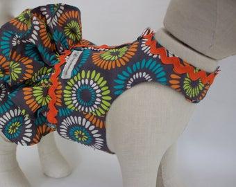 Custom Small Dog Dress Harness-100 % Cotton Pet Dress Harness-Dog Ruffle Dress Harness