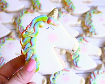 Rainbow Unicorn Decorated Cookies - One Dozen