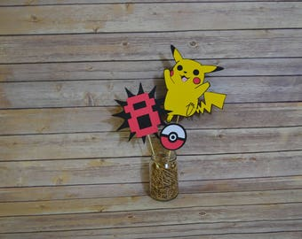 Pokemon Pikachu Centerpiece, Pikachu party, Pikachu banner, pikachu birthday decorations, pokemon banner, pokemon party, pokemon decorations