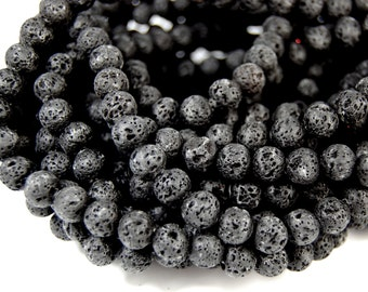 "Lot of 5 /  15.5"" strands Lava Rock Beads 8mm Black Beads Stone Beads Natural Beads Volcanic Rock Beads Jewel"