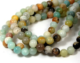 "Two 15.5"" strands Amazonite Beads 6mm"