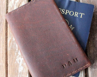 Hand made Oil tanned leather passport cover with room for cards and cash