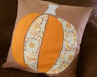 Fall Pillow - Pumpkin Pillow Cover - Ready to Ship - Fall Pillow Cover - Raggy Edge Applique - Thanksgiving Pillow - Home Decor - Fall Decor