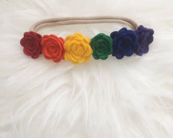 Rainbow Headband, Rainbow Baby Headband, Rainbow Baby Gift, Rainbow Baby Outfit, Newborn Flower Halo, Rainbow Flower Headband, Rainbow Halo