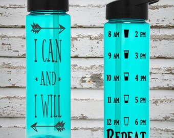 I Can And I Will 24oz Water Intake Tracker. Gym Water Bottle. Personalized Water Bottle. Hourly Reminders. Healthy Water Bottle.