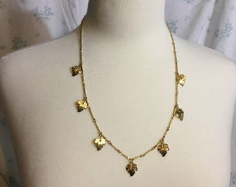 Sarah Coventry Gold Plated Leaf Necklace Mid-Century Vintage 1960's Leaves
