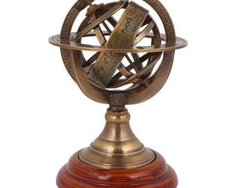 "Collectible Brass Antique Astrolabe 5"" Armillary Sphere Tabletop Decor"