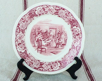 "Homer Laughlin Historic America Red Transferware 9"" plate Betsy Ross"