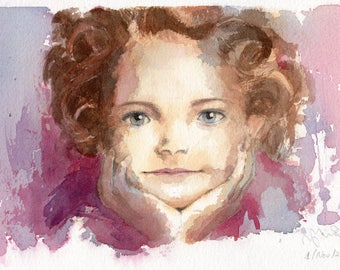 "11"" x 6.5"" Original watercolor painting. Portrait of Little Girl"