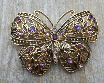 Lacy Pink and Purple Rhinestone Butterfly Brooch