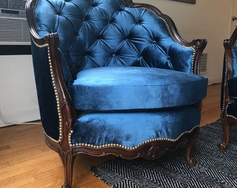 victorian blue velvet chair - Blue Velvet Chair