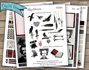 Edgar Allan Poe Printable Planner Stickers - The BIG Happy Planner Stickers - Poe Planner Accessories - Nevermore - Creepy Cute - Raven