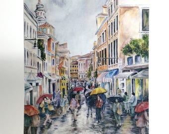 Watercolor art print mounted on wood panel — ready to hang — Street in Venice