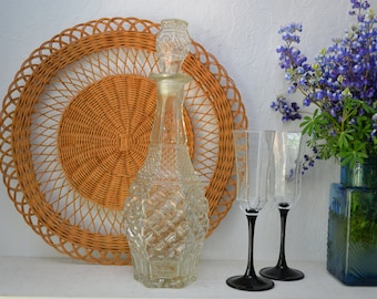 Vintage Wexford Pressed Glass Decanter Barware Eclectic/Boho/60s/Barcart/Kitchen Decor