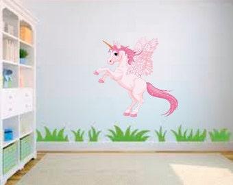 Pink Unicorn Pony horse Nursery Childs Bedroom Wall Art Sticker