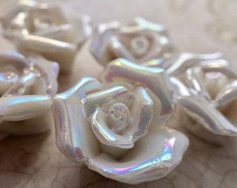 Qty2 Iridescent, Handmade, Ceramic Rose Beads, White, Ivory, Shiny, Romantic, Elegant, Victorian