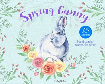 Spring Bunny watercolor Clipart ,Easter bunny,Spring ,Flower, Holidays collection clipart