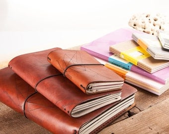 Leather Notebook Cover, Includes  Moleskine Cahier Journa