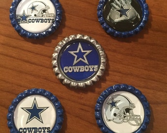 Handmade DALLAS COWBOYS , 1 inch BottleCap Magnets, Set of 5