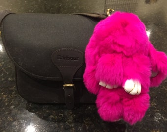 Luxuriously Soft Pink Bunny Handbag Charms/Keychain made from Real Fur