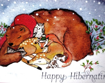 Christmas Card-These dear creatures just want to sleep... do you ever feel like that? ~ Winter Card~Watercolour~ Whimsical~Art Card~Rest~
